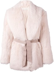 Drome Belted Coat Pink And Purple
