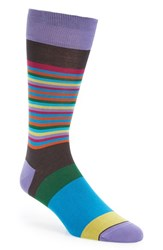 Bugatchi Men's 'Thin Stripe Bold Stripe' Socks Chocolate