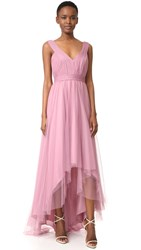 Monique Lhuillier Bridesmaids Tulle High Low Gown Cerise