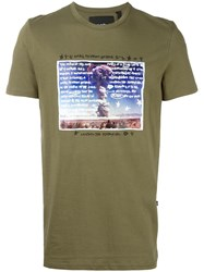 Blood Brother Explosion Print T Shirt Green