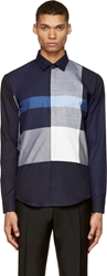 Burberry Blue And Grey Check Button Up Shirt