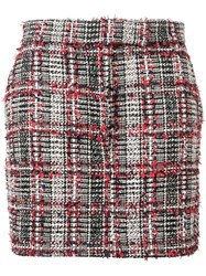 Thom Browne Prince Of Wales Eyelash Mini Skirt Red