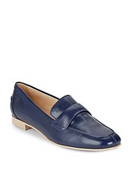 Tod's Slip On Leather Loafers Navy