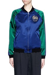 Opening Ceremony 'Bonsai' Reversible Embroidered Silk Satin Varsity Jacket Blue Multi Colour