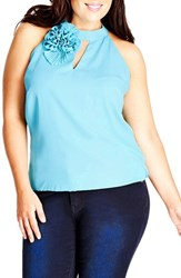 Plus Size Women's City Chic Rosette Detail Sleeveless Top