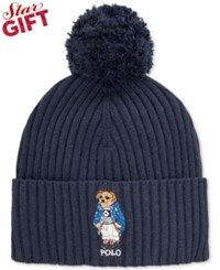 Polo Ralph Lauren Ski Bear Pom Knit Cuffed Beanie Hunter Navy