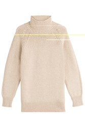 Max Mara Virgin Wool Turtleneck Pullover With Cashmere Beige