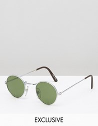 Reclaimed Vintage Round Retro Sunglasses With Silver Frame Silver