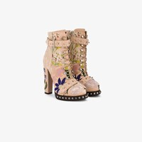 Alexander Mcqueen High Heeled Leather Floral Embroidered Bootie Pink And Purple