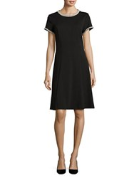 Karl Lagerfeld Pearl Embellished Flare Dress Black