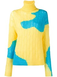 Delpozo Bicolour Cable Knit Sweater Yellow Orange