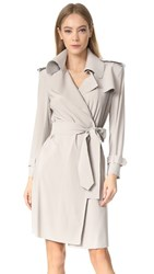 Norma Kamali Double Breasted Trench Wrap Dress Oyster