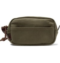 Filson Leather Trimmed Cotton Canvas Wash Bag Green