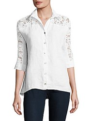 Saks Fifth Avenue Lace Pattern Linen Shirt White