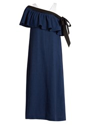 Isa Arfen Mali Baby Off The Shoulder Linen Dress Navy Multi
