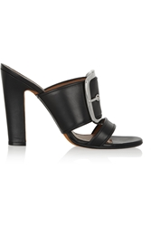Givenchy Odia Oversized Buckle Mules In Black Leather