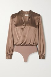 L'agence Marcella Wrap Effect Silk Satin And Stretch Jersey Bodysuit Brown