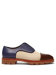Christian Louboutin Hubertus Canvas And Leather Oxford Shoes Multi