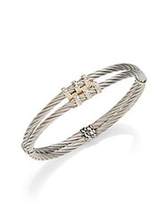 Charriol Diamond And 18K Yellow Gold Double Cable Bracelet Silver