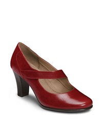 Aerosoles Domino Stacked Heel Pumps Red Leather