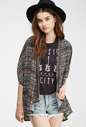 Forever 21 Tribal Print Dolman Cardigan Black Cream