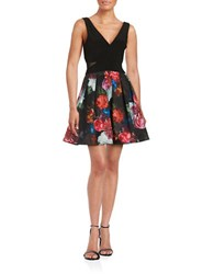 Xscape Evenings Floral Pleated Dress Black Pink