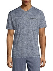 Hawke And Co Space Dye V Neck Tee Blue