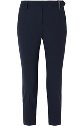 Brunello Cucinelli Cropped Bead Embellished Wool Blend Tapered Pants Navy