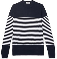 John Smedley Striped Sea Island Cotton Sweater Navy