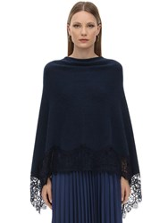 Pink Memories Triangle Wool Lace Poncho Navy