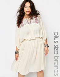 Alice And You Folk Embroidered Yoke Skater Dress Cream
