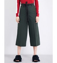 Moandco. Wide Leg Cropped Cotton Twill Trousers Chive