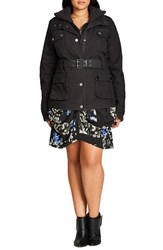 City Chic Plus Size Women's Rib Knit Trim Belted Utility Jacket Charcoal