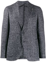 Tagliatore Woven Single Breasted Blazer Blue
