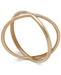 Macy's Polished Crisscross X Statement Ring In 18K Gold Yellow Gold