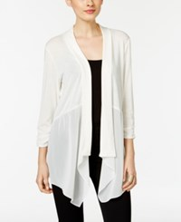 Ny Collection Chiffon Detail Open Front Cardigan Ivory