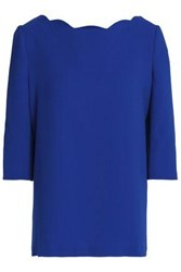 Claudie Pierlot Scalloped Crepe Top Royal Blue