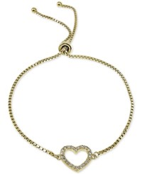 Giani Bernini Cubic Zirconia Pave Heart Adjustable Bracelet In 18K Yellow Or Rose Gold Plated Sterling Silver Or Sterling Silver Only At Macy's