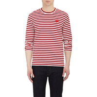 Comme Des Garcons Heart Patch Long Sleeve T Shirt Red