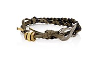 Giles And Brother Men's Rope Wrap Bracelet With S Hook Black
