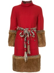 Chanel Vintage Fantasy Fur Dress Red