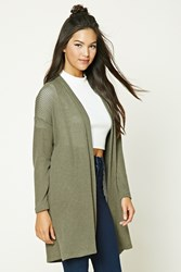 Forever 21 Longline Open Front Cardigan Olive