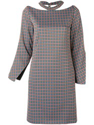 Aalto Checked Cut Out Dress Green