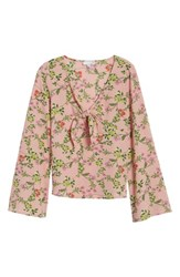 Ten Sixty Sherman 'S Tie Front Bell Sleeve Top Pink Floral