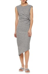 Topshop Side Drape Maxi Dress Grey