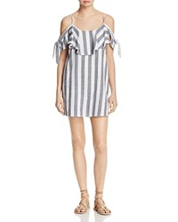 Misa Los Angeles Nicolette Cold Shoulder Stripe Dress Grey Stripe