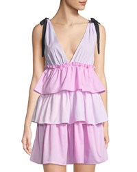 Romeo And Juliet Couture Tie Shoulder Tiered Stripe Mini Dress Pink White