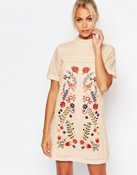 Fashion Union Shift Dress With Embroidery Sand Beige