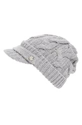 Women's Michael Michael Kors Cable Knit Newsboy Hat Grey Pearl Heather Grey