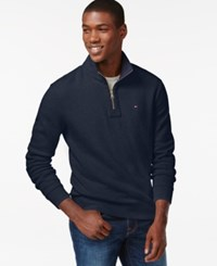 Tommy Hilfiger Big And Tall French Rib Quarter Zip Mock Collar Sweater